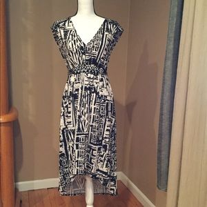 Black/White  High low Dress with beading at waist